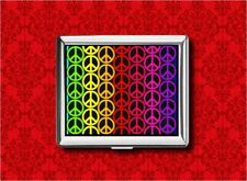PEACE SIGN RAINBOW HIPPIE RETRO METAL WALLET CARD CIGARETTE ID IPOD CASE