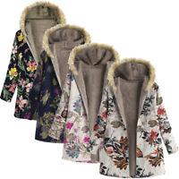 Womens Fur Collar Zipper And Velvet Printed Cardigan Long Button Coat Outwear