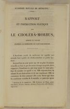 RAPPORT INSTRUCTION PRATIQUE REGIME CHOLERA MORBUS COLERA EPIDEMIA 1832 PARIGI