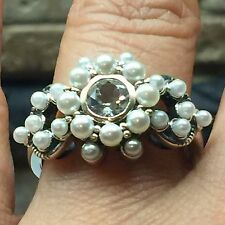 AAA Natural .5ct Aquamarine Freshwater Pearl 925 Solid Sterling Silver Ring 8