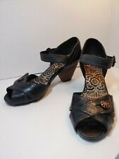 Indigo by clarks 8.5 Brown Peep Toe Comfort Wedge Chunky Heel sandal SO NICE!!!!