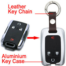 Aluminium Alloy Silver Remote Key Fob Shell Cover for GMC Sierra Canyon