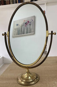 Mid Century French Country House Brass Table Top Mirror
