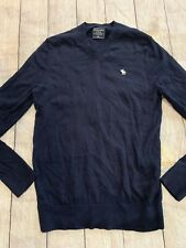 Mens Abercrombie & Fitch V Neck Sweater Size Medium Navy EUC Long Sleeve