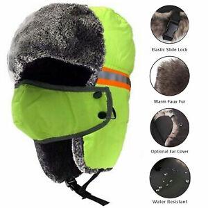 Hi Vis Reflective Safety Winter Ski Fur Hat Aviator Russian Trapper Trooper Cap