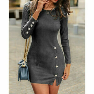 Womens Knitted Jumper Dress Bodycon Ladies Winter Long Sleeve Party Mini Dress