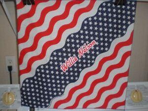 Willie Nelson Stars & Stripes Cotton-Poly Bandana Handkerchief Head Wrap Do-Rag