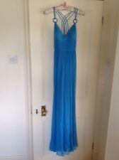Turquoise Blue Silk Chiffon Maxi, Evening, Prom Dress, US 6, UK 10 BNWOT