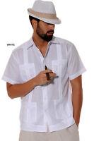 Mens Bohio 100% Linen White Cuban Classic Guayabera 4-Pocket Shirt (S~2XL)-LS499