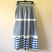 Vintage 70s Blue & White Gingham Check Maxi Skirt Tiered Ruffle Eyelet S/M i