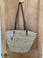 Large Straw Woven Shopping Bag Beach Holiday Faux Leather Straps Drawstring
