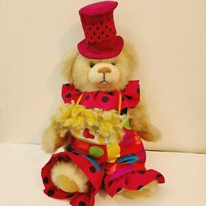 """Mardi Gras Bear 21"""" Magenta Tophat Carnival Mask Knickerbocker Creations hangtag"""