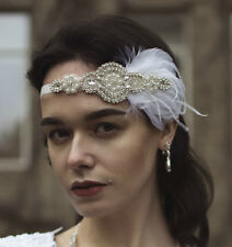 White Silver Vintage Feather Headdress 1920s Great Gatsby Headband Diamante U76