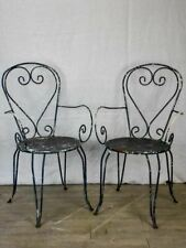 Pair of heart-back garden armchairs with black painted finish
