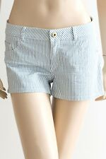 H & M Blue and White Striped Shorts Preloved - Size 10-12