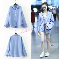 Womens Long Sleeve Stripe Top Loose Korean Shirt BF Blue Blouses Spring S-L 2017
