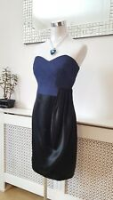 Coast Debenhams Art Deco Ruched Black Navy Draped Silk Occasion Dress Size 12