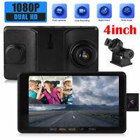"4"" Dual Lens Camera HD Car DVR Dash Cam Video Recorder G-Sensor w/ Night Vision"
