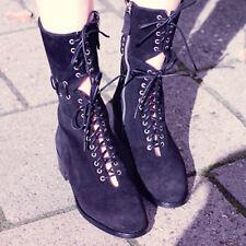 Miista Boots Black Suede Leather Lace Up Cut Out Zipper Mid Calf EU 38 US 7.5
