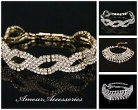 UK Silver/Gold Party Diamante Crystal Cuff Row Bracelet/Bangle Wedding/Occassion