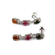 Ohrstecker Silber 925 Turmaline Edelstein Ohrringe mehrfarbig eleganter Schmuck