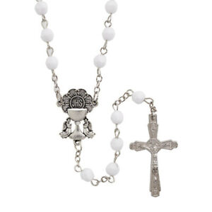 First Communion Rosary White Faceted 6mm Beads