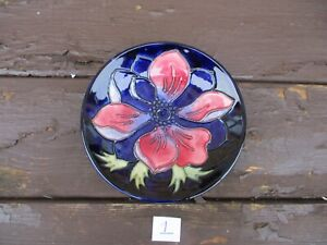Moorcroft Pottery Anemone coaster signed  & dated by walter Moorcroft  (1)