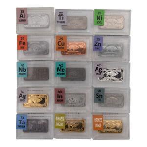 15 x 1 Gram Periodic Element Metal Ingots SILVER x 2, Tantalum, Indium, Niobium