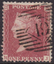 """1857 1d PENNY RED STAR C10 PIASTRA 56 LETTERE """"H-J"""" NICE USATO"""