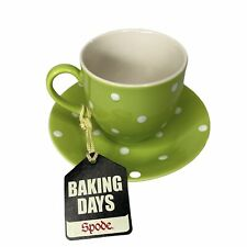 NEW SPODE Baking Days Set Of 4 Cups & Saucers Green White Polka Dot 6oz Box Flaw