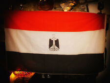 Egyptian FLAG with BLACK Eagle of Saladin Coat of Arms and alternative script