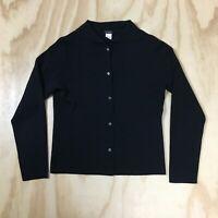 J.Crew 100% Merino Wool Black Cardigan Fine Knit Sweater Women's L