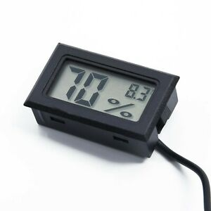 Kit Digital Hygrometer Thermometer Meter Monitor Probe Black Electronic