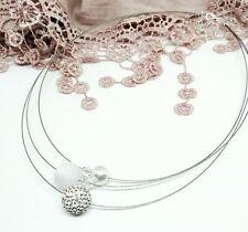Halskette weiß silber Braut Schmuck Hochzeit Polaris Strass 5 Perlen Collier