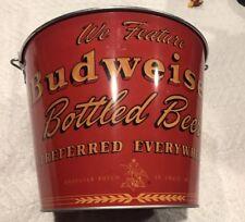 BUDWEISER BEER METAL TIN ROUND ICE BUCKET BOTTLE CAN HOLDER