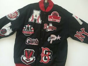 Headgear Negro Leagues Baseball Jacket 4XL  1920-1960 Team Patches All Over RARE