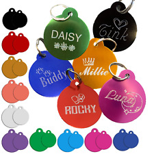 Engraved Colour Pet Tag Dog Personalised Pet ID Tag Bone Heart Paw Crown Star