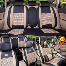 PU Leather Car Seat Covers Cushions 5-Seats Front & Rear W/ Pillows 11PCS Size M