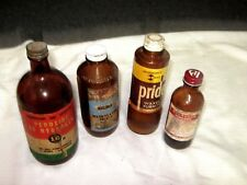 4 x Ass't Vintage Imperial Measure Paper Label Household Cleaning Liquid Bottles