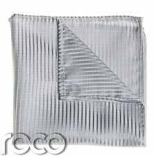 Boys Striped Silver Pocket Square, Boys Handkerchief, Pocket Handkerchief