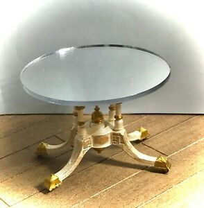 1:6 Dollhouse miniature Victorian side table top mirror - Barbie scale