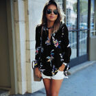 Womens Floral Chiffon Tops Loose Long Sleeve T-Shirt Casual Blouse Summer Shirts