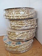 Lot of 4 Ivory & Metallic Gold Twisted Braided Christmas Cord~8 Yds Total