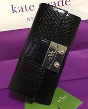 KATE SPADE NEW YORK CINDY CHELSEA SQUARE LUXE ENBOSSED LEATHER WALLET WOMAN'S