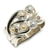 River Pearl Natural Gemstone Handmade 925 Sterling Silver Ring Size 8 SR-226