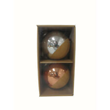 New Allen & Roth 2 Pack Silver Gold Copper Ball Ornament Wood Grain