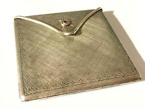 Antique Vintage 1900's Silver envelope shape powder compact. 100 grams.