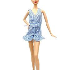 Barbie Fashionistas Blue and White Stripe Pattern Romper