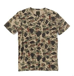 Lucky Brand Men/'s L Military Brown Floral Camo Cotton Henley Shirt NWT$39