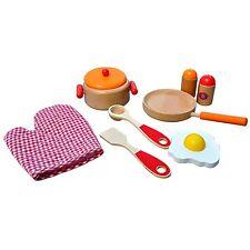 Bois Set de Cuisine pour les Enfants Rouge ~Orange~ Naturel Casserole Épicerie